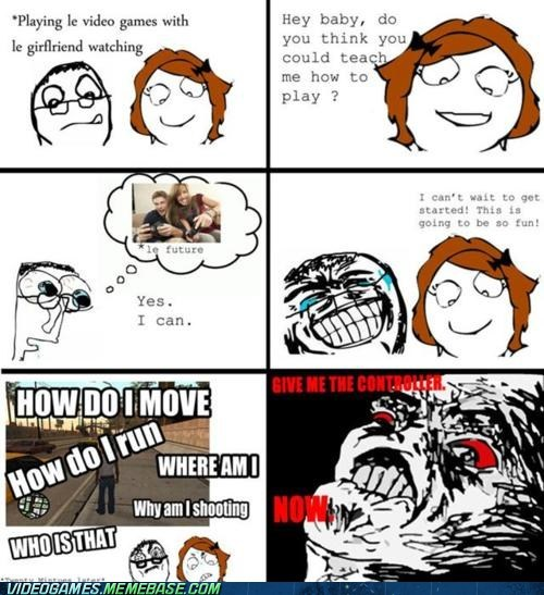 controller girlfriend girls rage comic video games