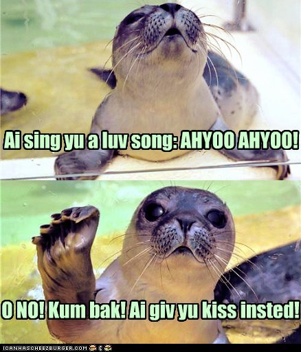 bad singing,cute,KISS,love song,multipanel,seals,singing