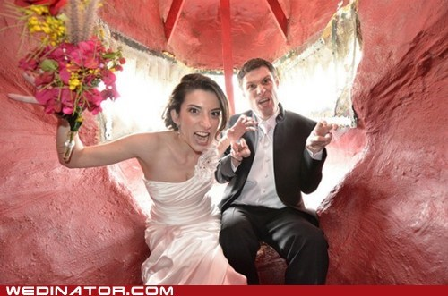 bride dinosaurs funny wedding photos groom - 5943755520