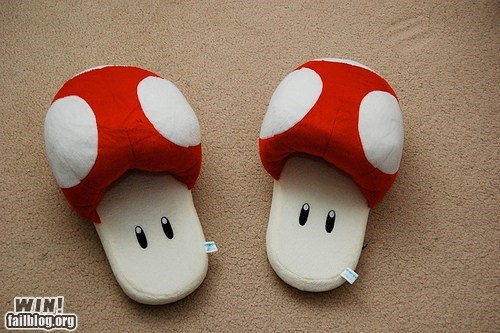 g rated mario nerdgasm nintendo slippers Super Mario bros video games win - 5943987712