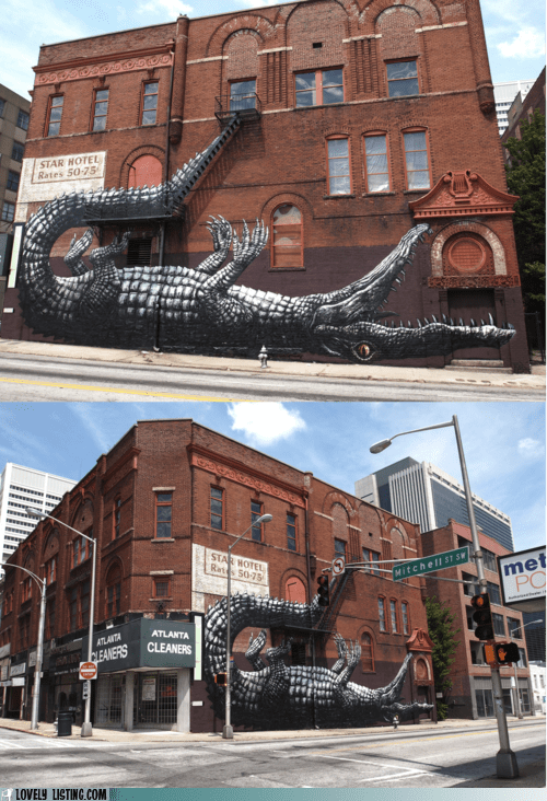 art,crocodile,fire escape,mural