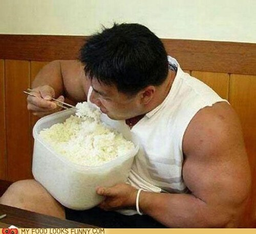 body builder,carb loading,rice