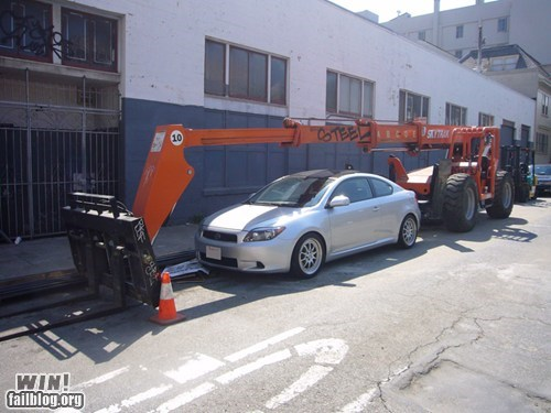 car construction crane parking shade