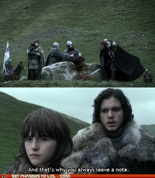 arrested development bran decapitation Eddard Stark Game of Thrones Jon Snow leave a note lessons quotes sean bean - 5944680448