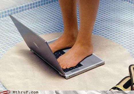 feet laptops mac shower using with feet