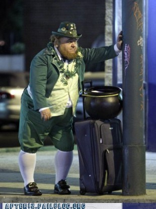 bus,bus stop,costume-st-patricks-day,leprechaun