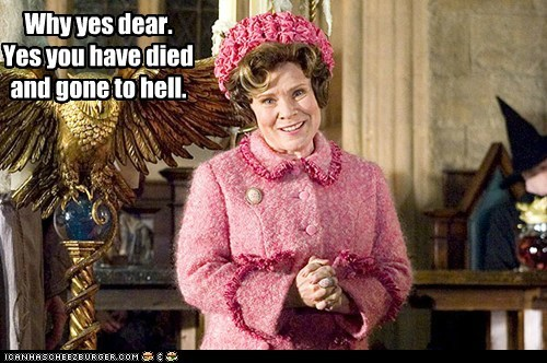 Delores Umbridge,died,Harry Potter,hell,imelda staunton,scary