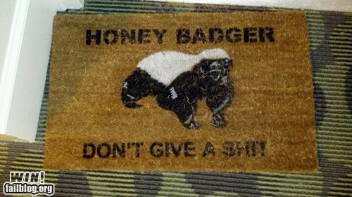 design doormat Hall of Fame honey badger meme welcome mat win
