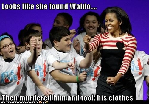 Looks like she found Waldo.... Then murdered him and took his clothes