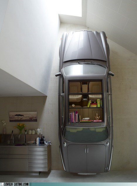 bookcase car ridiculous shelves wall - 5946185728