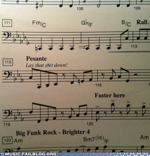 bass instructions Music FAILS music instructions score sheet music - 5948077568