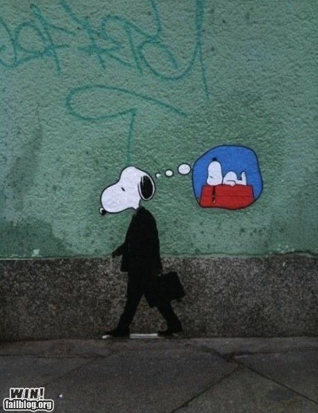 hacked irl,monday thru friday,peanuts,snoopy,Street Art,working