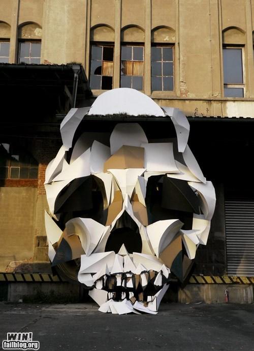 hacked irl memento mori paper skull Street Art - 5949193216
