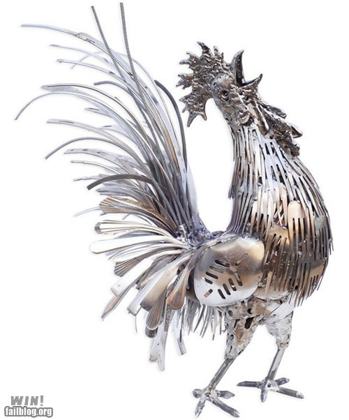 art,recycle,rooster,sculpture