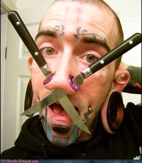 holes knife knives nose piercing poorly dressed - 5949633280