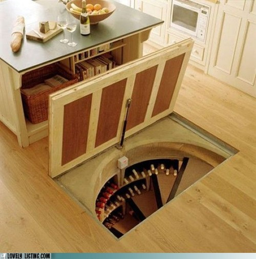 kitchen,secrets,spiral stairs,trap door,wine cellar