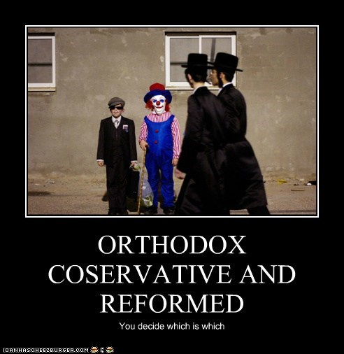 ORTHODOX COSERVATIVE AND REFORMED You decide which is which