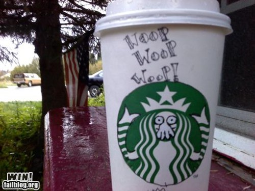 clever,coffee,doodle,futurama,Starbucks,why not zoidberg,Zoidberg