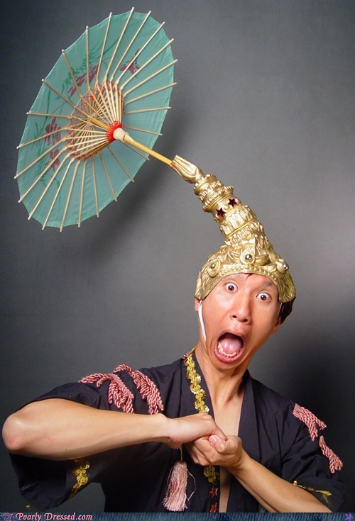 hat,parasol,southeast asia,surprised,thailand,umbrella