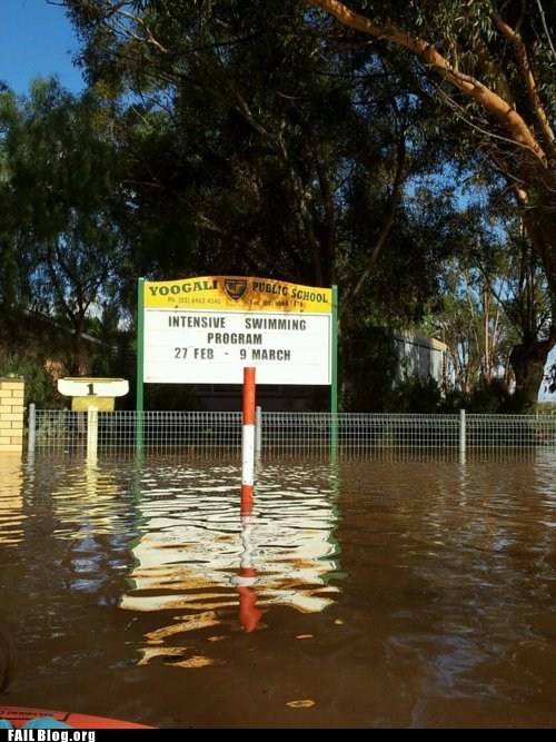 flooding,irony,school,signs