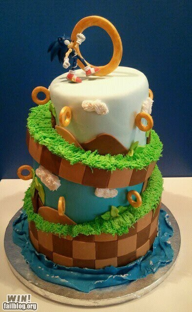 cake,dessert,food,nerdgasm,sonic the hedgehog
