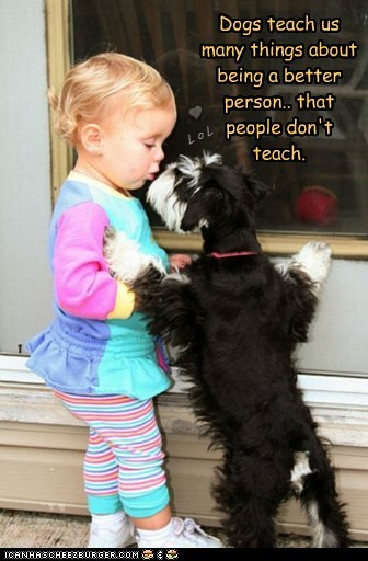 Dogs teach us many things about being a better person.. that people don't teach. L o L Y