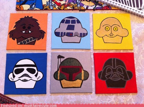 art characters cupcakes paintings star wars