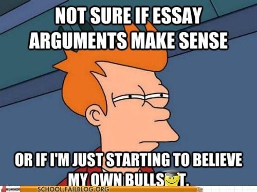 believing own bs essay arguments fry meme - 5953412864
