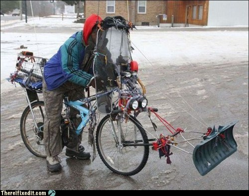 bicycle,riot,shovel,snow