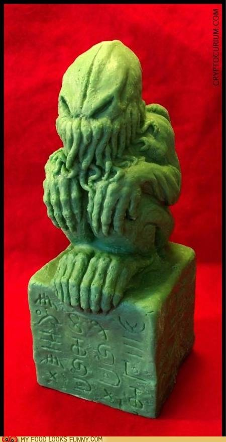 chocolate,cthulhu,green,madness,occult,sculpture,statue