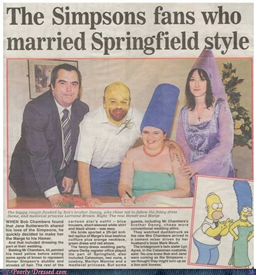 costume,fans,newspaper,simpsons,wedding