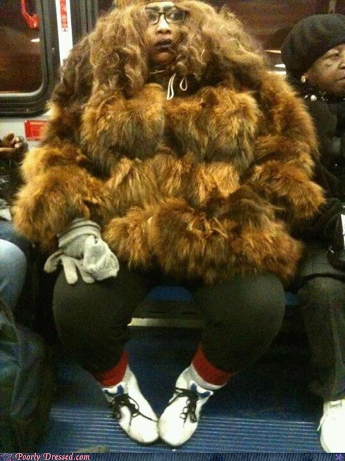 fur,fur coat,g rated,Hall of Fame,poorly dressed,Subway,wooly mammoth