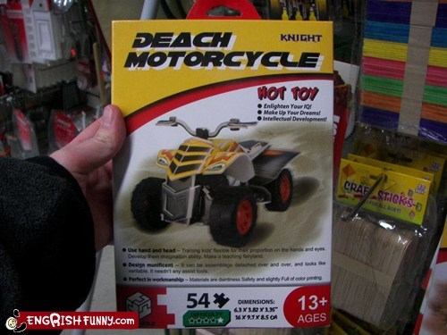deach motorcycle,engrish,motorcycle,toy,toys