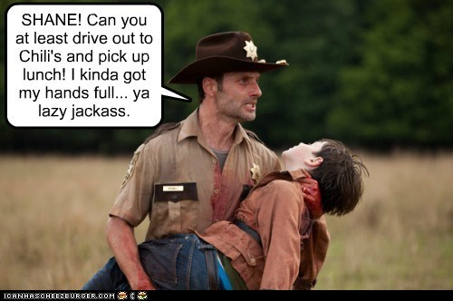 Andrew Lincoln,carl grimes,chilis,lazy,lunch,Rick Grimes,shane walsh,The Walking Dead