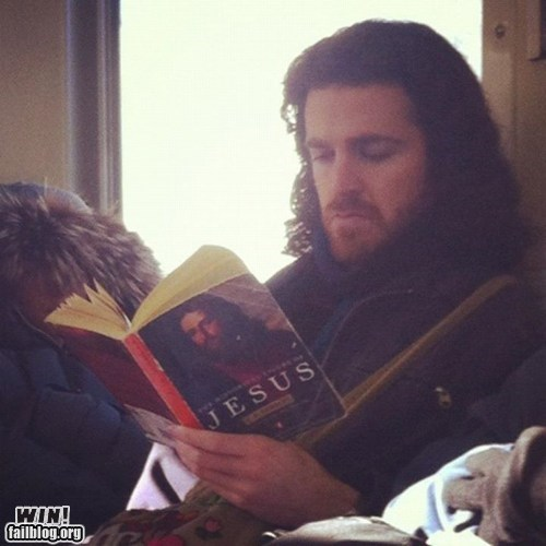 bus jesus reading religion