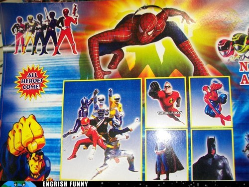batman DC marvel marvel comics mmpr mr incredible power rangers Spider-Man superman the incredibles