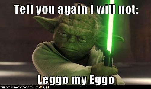 attack of the clones leggo my eggo lightsaber star wars waffles yoda