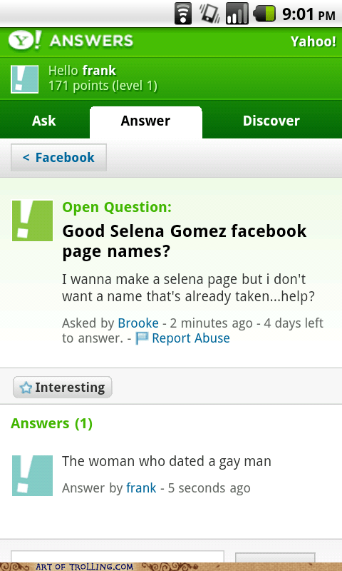facebook justin bieber Selena Gomez Yahoo Answer Fails - 5957663232