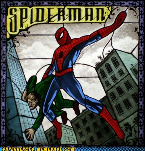 Awesome Art Spider-Man stained glass wtf