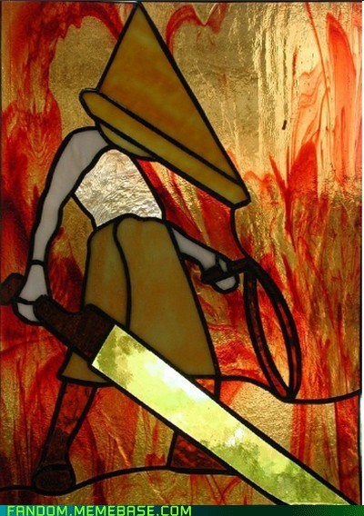 Fan Art pyramid head silent hill stained glass video games - 5958443264