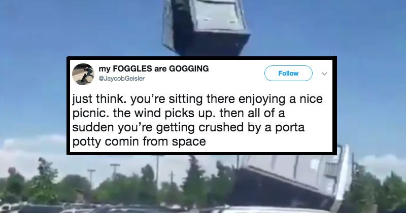 crazy weather wind porta potty gross funny - 5958917
