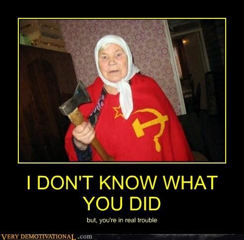 axe grandma scary Soviet Russia Terrifying wtf - 5959355648