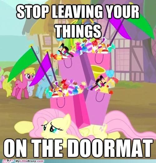 doormat,fluttershy,mean,meme
