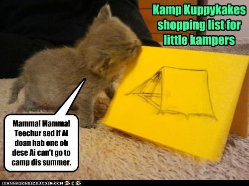 Kamp Kuppykakes shopping list for little kampers