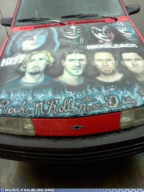 car,KISS,nickelback,painting