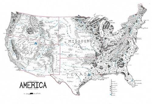 Fictional Cartography,Lord of the Rings,US Map