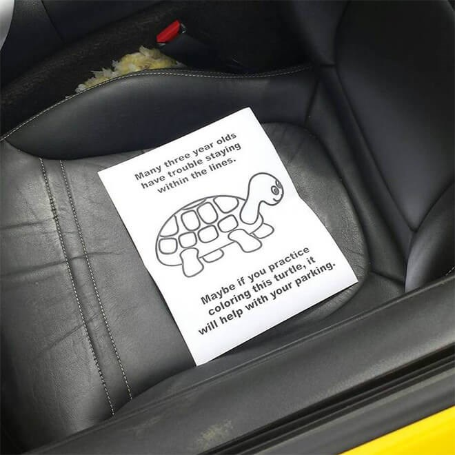 animals notes given to people for their bad parking and comparing them to toddlers and coloring pages