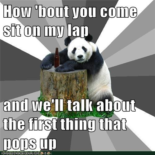 Bad Pickup Line Panda lap puns sex sit - 5963888640