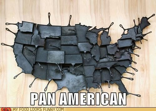 cast iron,map,pans,states,united states,usa