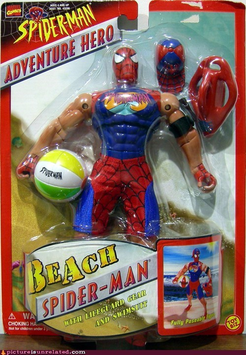beach,lifeguard,Spider-Man,wtf